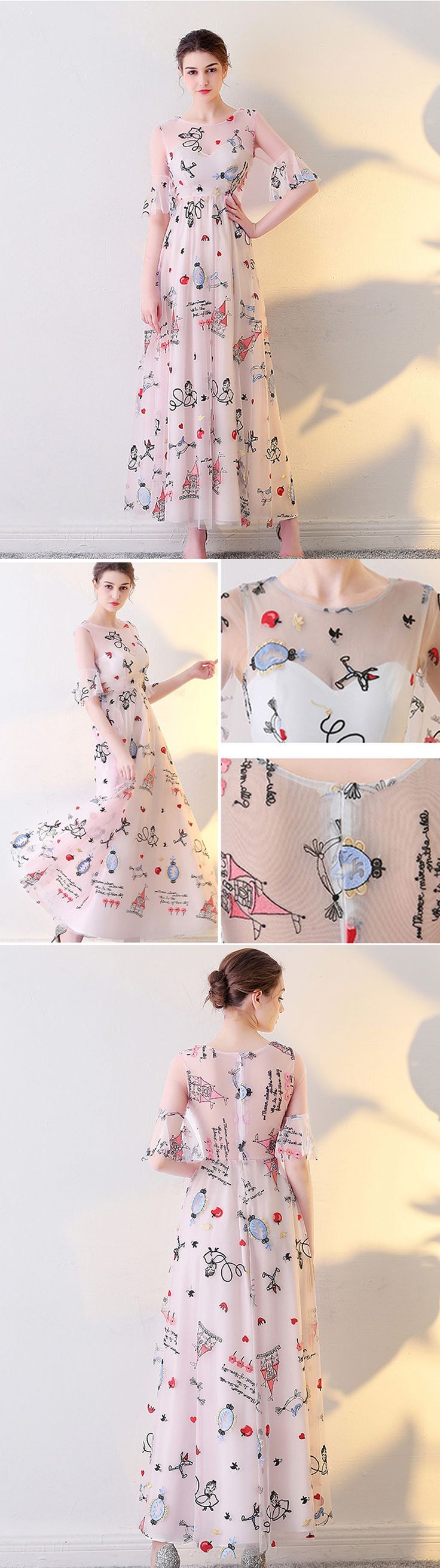 Unique embroidery prom dress,Junior prom dress,Popular half speaker sleeve prom dresses, PD210139