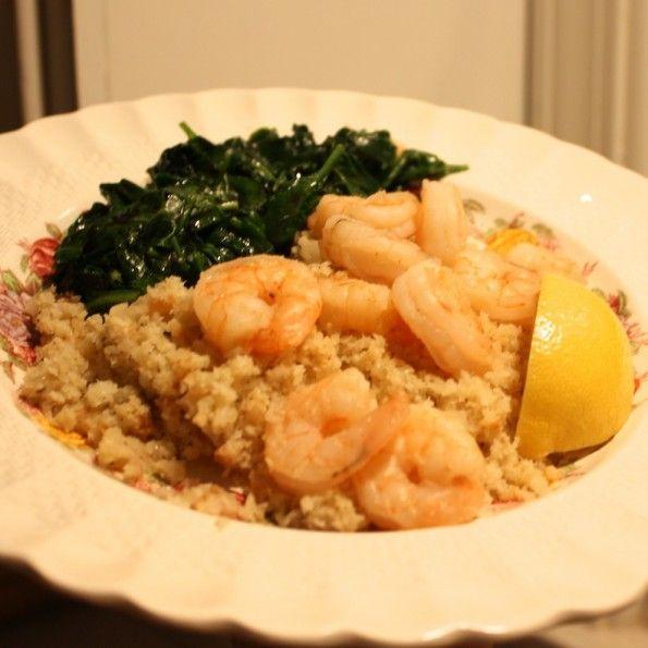 Cauliflower Rice With Garlic Shrimp --- AnnaNimmity.com