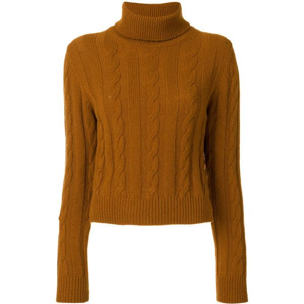 The Gigi cable knit turtleneck jumper (4.747.455 IDR) ❤ liked on Polyvore featuring tops, sweaters, brown, brown top, cable-knit sweater, turtle neck sweater, turtleneck jumper and cable knit turtleneck