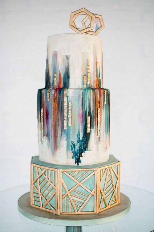 Geometric Wedding Cake   Brides.com