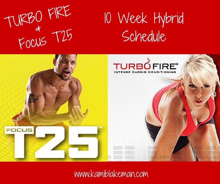 You've asked, and I'll provide! A T25 & Turbo Fire Hybrid Schedule! Whoa, that's a lot of cardio! T25 TurboFire Workout Schedule Calendar Week 1 Monday – Turbo 30 Tuesday – Sp…