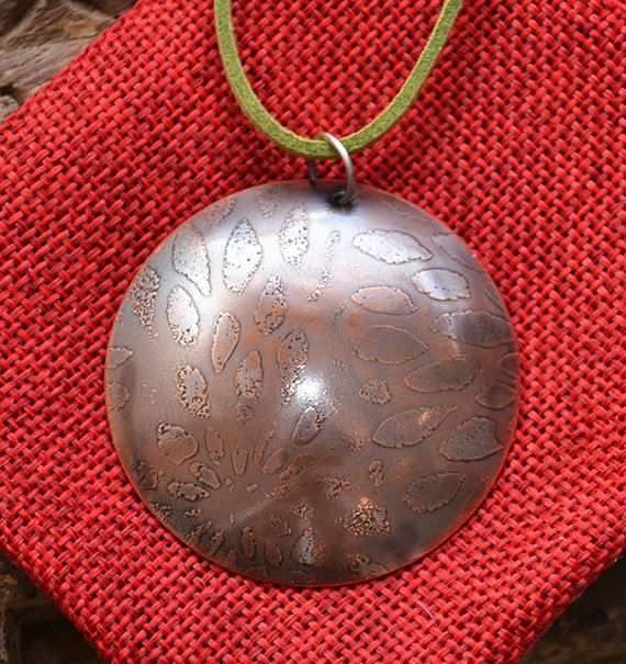 Patinated Copper Pendant on Sage Green Cord.  by SaSousaDesigns