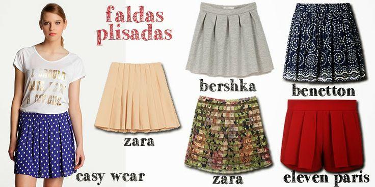 Pleated Skirts, Faldas de tablas, faldas plisadas, Zara, Bershka, Benetton, Eleven Paris