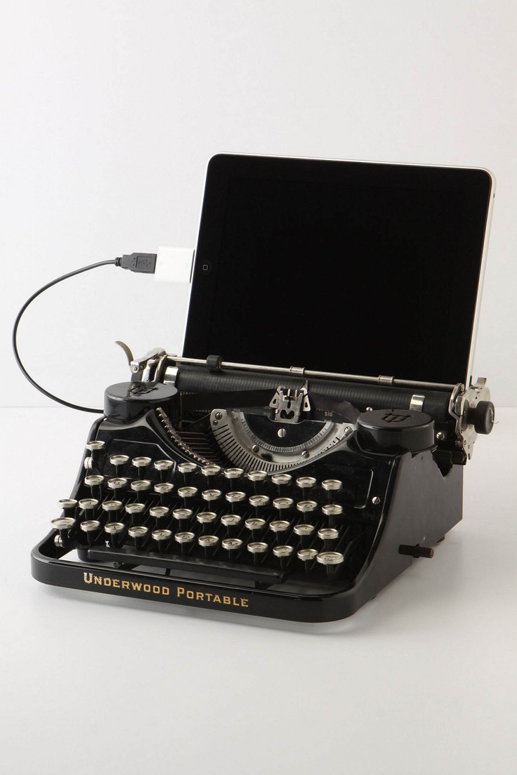 USB Typewriter, Underwood - $798 - Dock your iPad or plug-in your desktop and type away with the satisfying click-clack of a vintage Underwood Universal typewriter. Repurposed by Philadelphian Jack Zylkin, this ingenious machine melds era-spanning technologies, and when unplugged, can still be used as originally intended - with inked ribbon and paper.