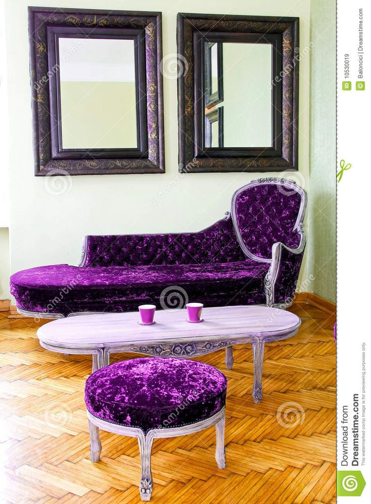 Purple Living Rooms | Living Room With Purple Upholstered Furniture Set.