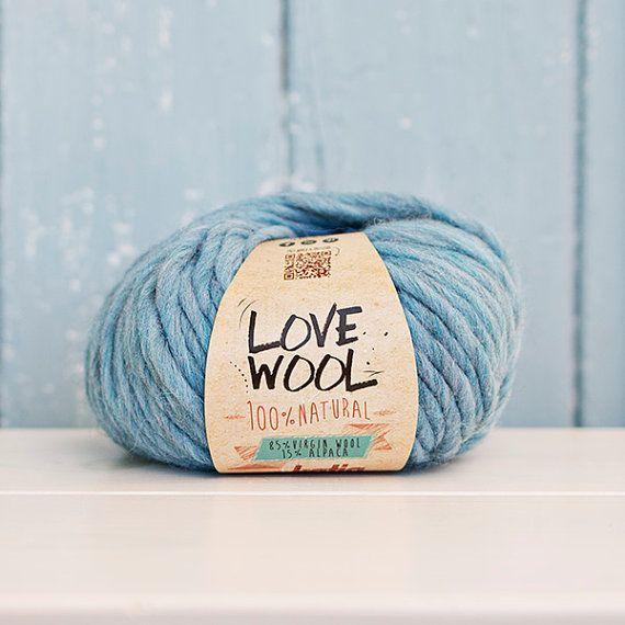 Love wool Yarn Wool & Alpaca Light blue by Soulmadehome on Etsy