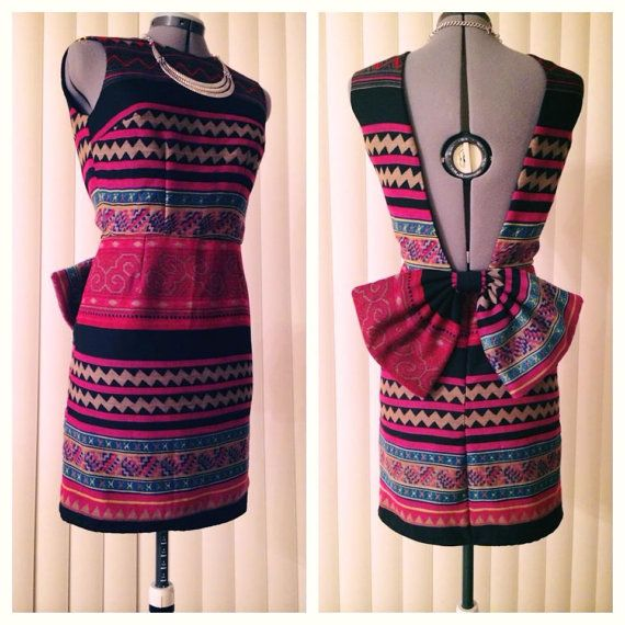 Open Back Hmong Print dress with bow by Xweets on Etsy