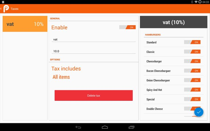 Tax point of sale in tablet 10''