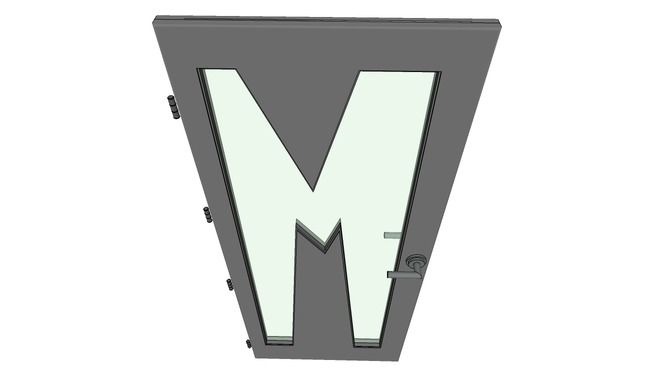 "Large preview of 3D Model of Letter ""M"", 3D door, very detail with glass, lock and hinger."