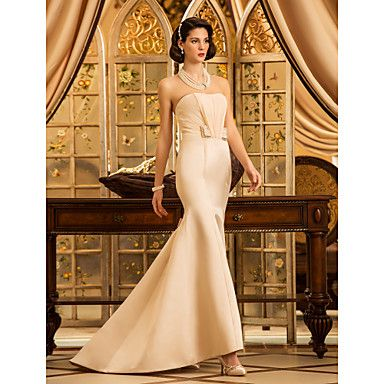Trumpet/Mermaid Strapless Sweep/Brush Train Satin Wedding Dress – USD $ 89.69