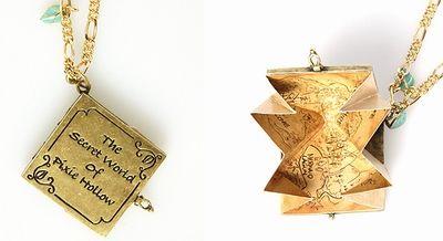 Disney Couture Pixie Hollow Secret Map Necklace