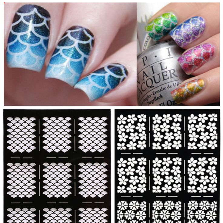 Hot 1sheet Nail Vinyls Irregular Grid Pattern Stamping Nail Art Tips Manicure Stencil Nail Hollow Stickers Guide