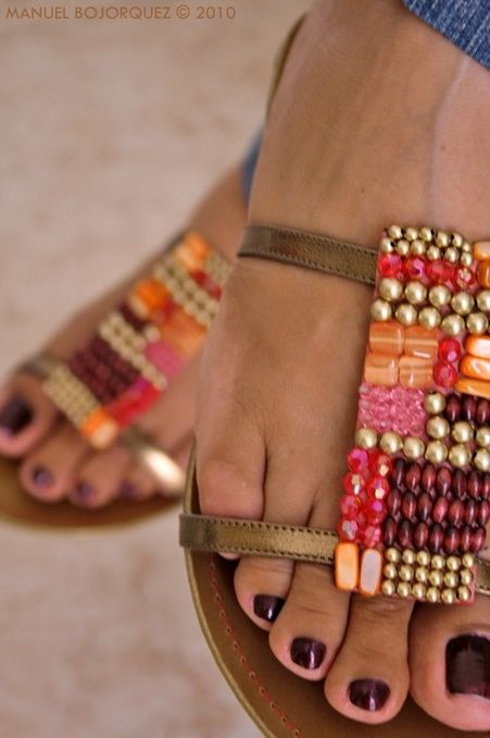 beaded sandals #girly #accessories <3<3 For tips and advice on #trends and fashion, Visit http://www.makeupbymisscee.com/