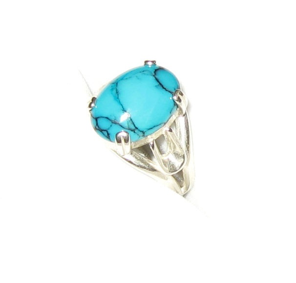 Beautiful Pattern Turquoise In Sterling Silver Ring by GemsBerry