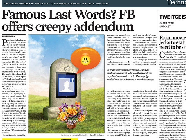 if i die - the digital afterlife facebook app on The Sunday Guardian.