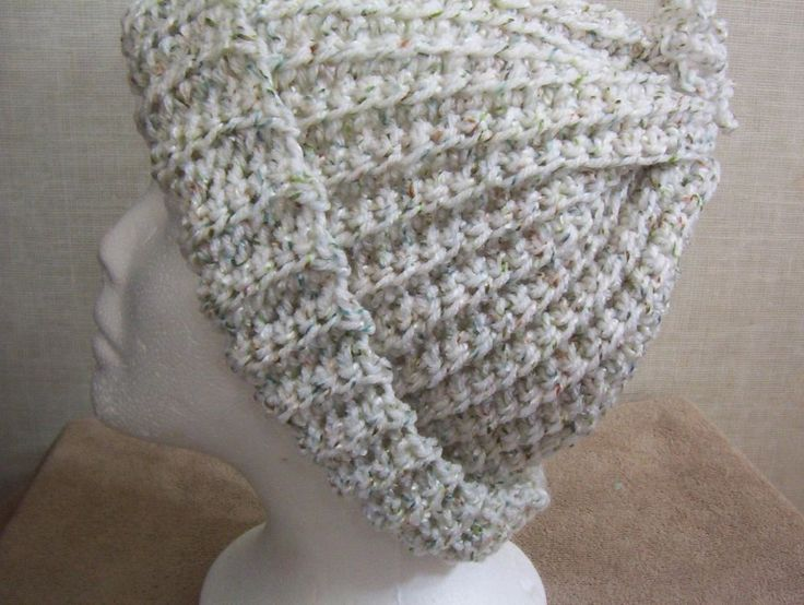 Hand Crocheted White Ombre Ridged woman's Hat with Looped Pom Pom #Handmade