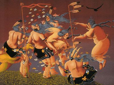 Rabbett Before Horses, Gaa-oshi'aad Nitam Memegwanay   (Creation of the Butterflies First Butterflies), 1997  oil on canvas, 68 x 91""