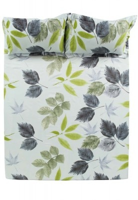 Gray & Green Leaves Sheets