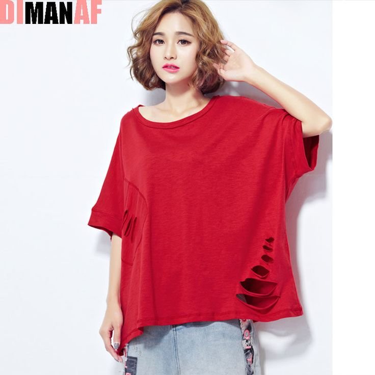 Women T-Shirt Plus Size Summer Pattern Print Hole Batwing Sleeve Female Fashion Loose Casual Red Short Stylish Tops&Tees T-Shirt