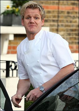 Back at work ... Gordon Ramsay leaves home this morning