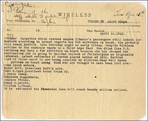 Another telegram sent by Sarnoff's team regarding Titanic survivors