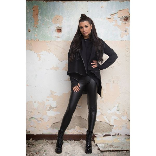 Faux Leather Pants Second Skin Pants Black Pants Extravagant Pants... (€73) ❤ liked on Polyvore featuring pants, leggings, grey, women's clothing, thick black leggings, black pants, black trousers, gray leggings and faux-leather leggings