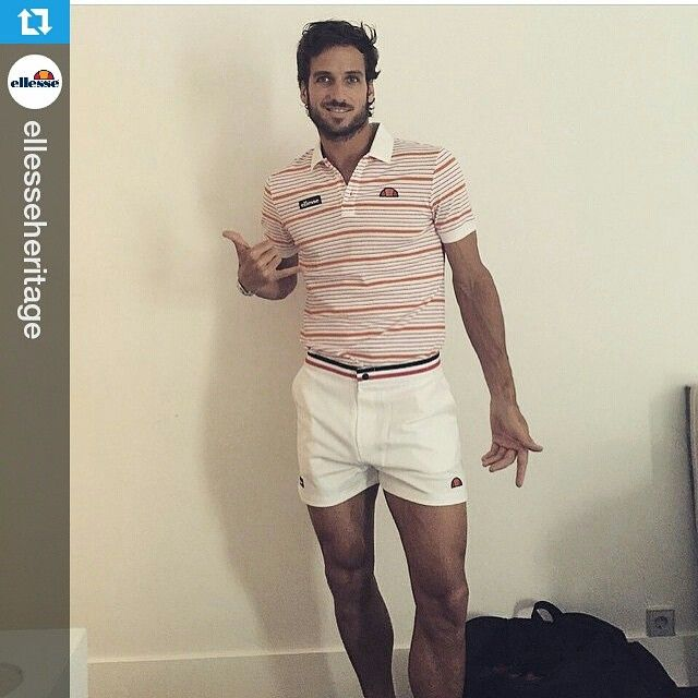Nice vintage look by @ellesseheritage  Like it!  #Repost @ellesseheritage ・・・ #Repost @felilopezoficial looking extremely smart in his ellesse heritage attire! Both the colour ways and stripes so classic ellesse... #ellesse #shortshorts