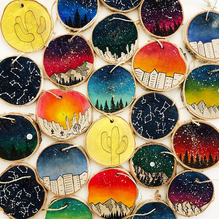Galaxy Ornaments, Wood Slice Ornament, Rustic Wood Slice Ornament, Christmas, Mountains, Outer Space, Sunset, Desert, City, Cactus, Star Map