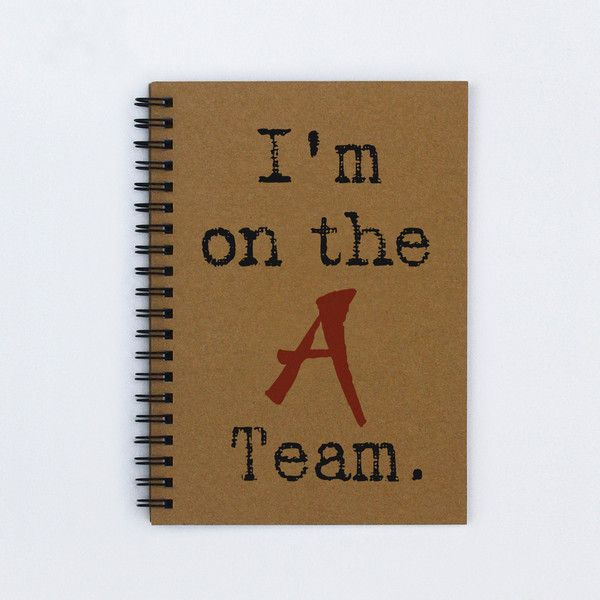 I'm on the A Team 5 x 7 Journal, notebook, diary, sketch book, memory... (78 ZAR) ❤ liked on Polyvore featuring home, home decor and stationery