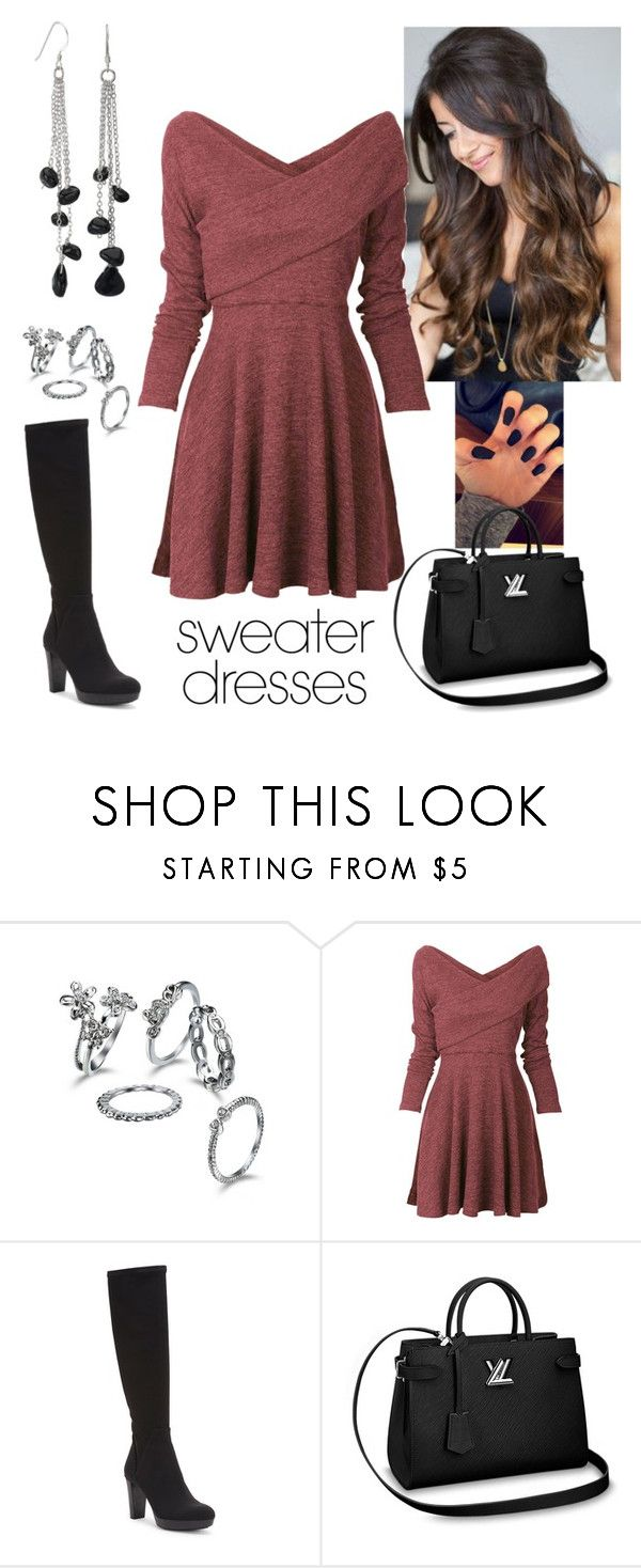 """Sweater dress"" by paoladouka on Polyvore featuring Donald J Pliner, Avanti, black, beautiful, women and sweaterdress"