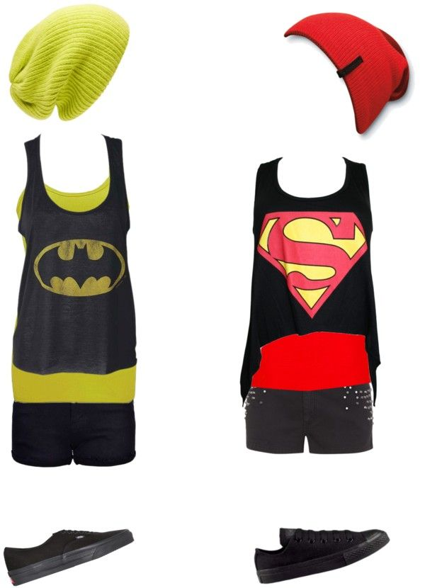"""Batman and superman"" by ak00 ❤ liked on Polyvore"