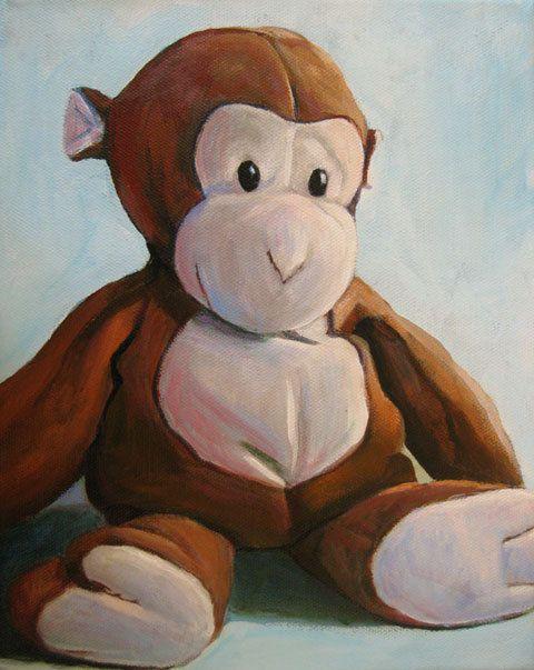 Stuffed Toy Monkey Print  8x10 Nursery Art by JenHaley on Etsy, $32.00