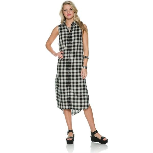 Swell Checkered Flannel Dress ($59) ❤ liked on Polyvore featuring dresses, black, plaid dresses, long flannel shirt dress, long shirt dress, plaid shirt dresses and oversized t-shirt dresses