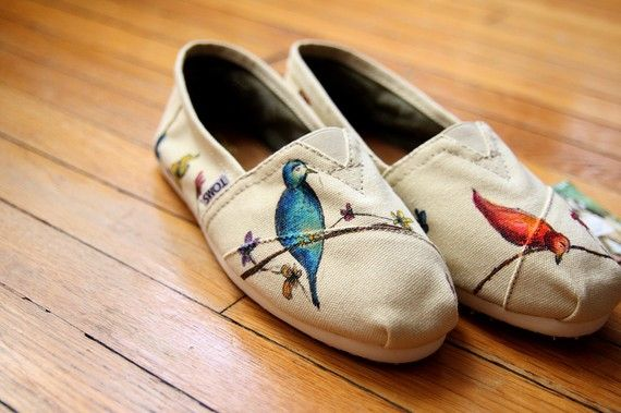 Birds and Wildflowers All Over Custom TOMS Shoes  Size by shandke, $82.50