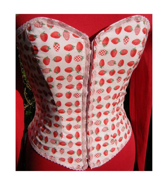 Sweet lolita strawberry bodice. Cute pink print. front fastening. corset style laced back.