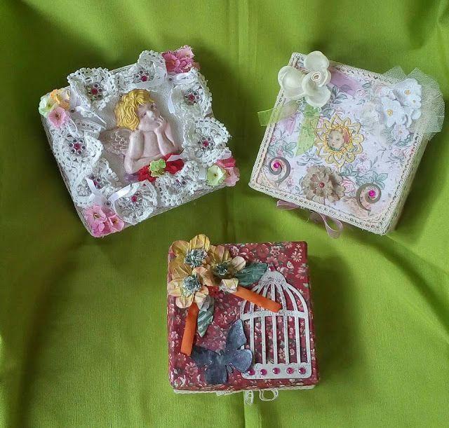 le creazione di nonna katia:  scatole di cartone con decorazione in…