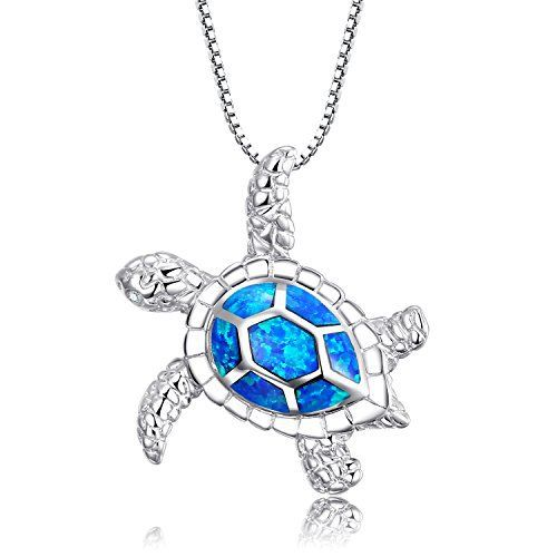 Sterling Silver Created Blue Opal Sea Turtle Penadnt Necklace 18