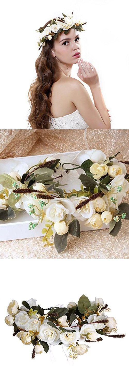 AWAYTR Bohemia Camellia Flower leafy Fairy Halo Floral Crown Hair Wreath Wedding Headpiece (White)