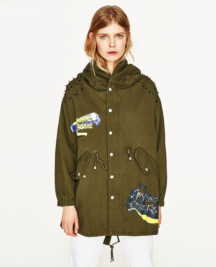 Image 4 of LONG PARKA WITH GRAFFITI PRINT from Zara