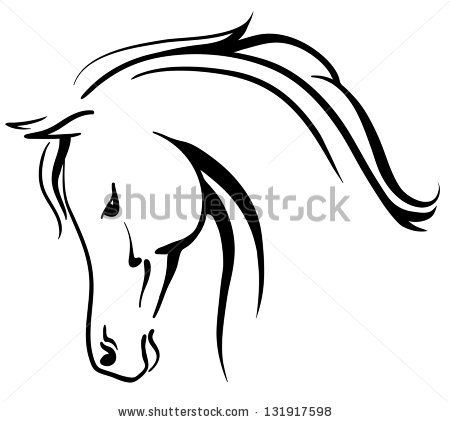 Clip art arabian horse stylized head - stock vector