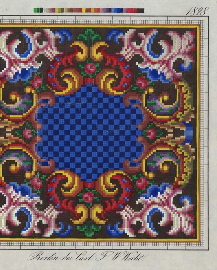 A Berlin WoolWork Pattern Produced By Carl F W Wicht Berlin - FOUND ON embroiderersguildwa.org.au