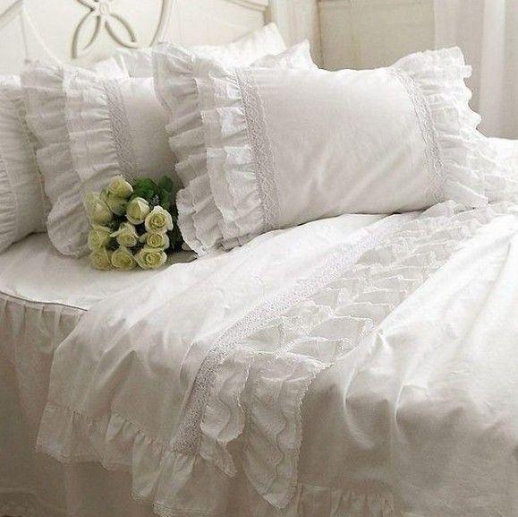 Blanco volantes de encaje juego de cama de lujo, doble completo reina rey algodón de la muchacha, princesa francesa wed textiles para el hogar colcha cubierta del edredón