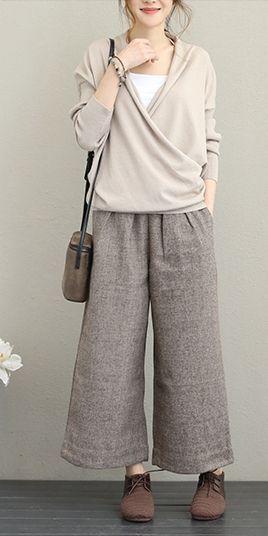 Vintage Casual Woolen Wide Leg Pants Women Warm Trousers Q1637
