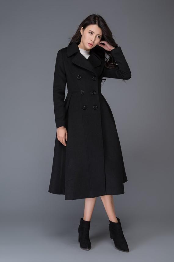 Long Black Wool Coat Womens Uk Promotions, Ladies Long Black Wool Coat Uk