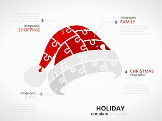 Christmas holiday infographic template with red hat symbol made out of jigsaw pieces