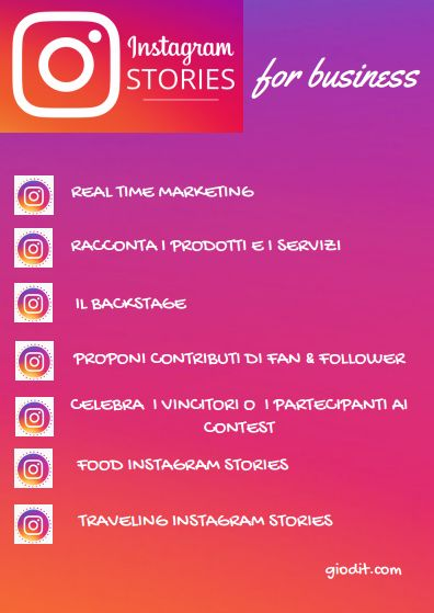 Instagram Stories for business by GioDiT    https://giodit.com/2017/05/22/instagram-stories-per-aziende-e-start-up-infografica/