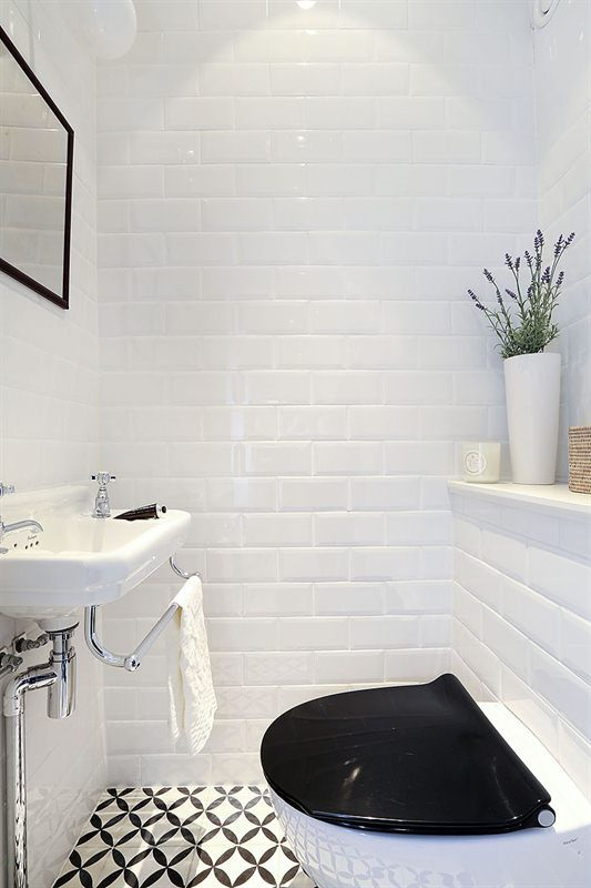 Black and white bathroom Subway tiles