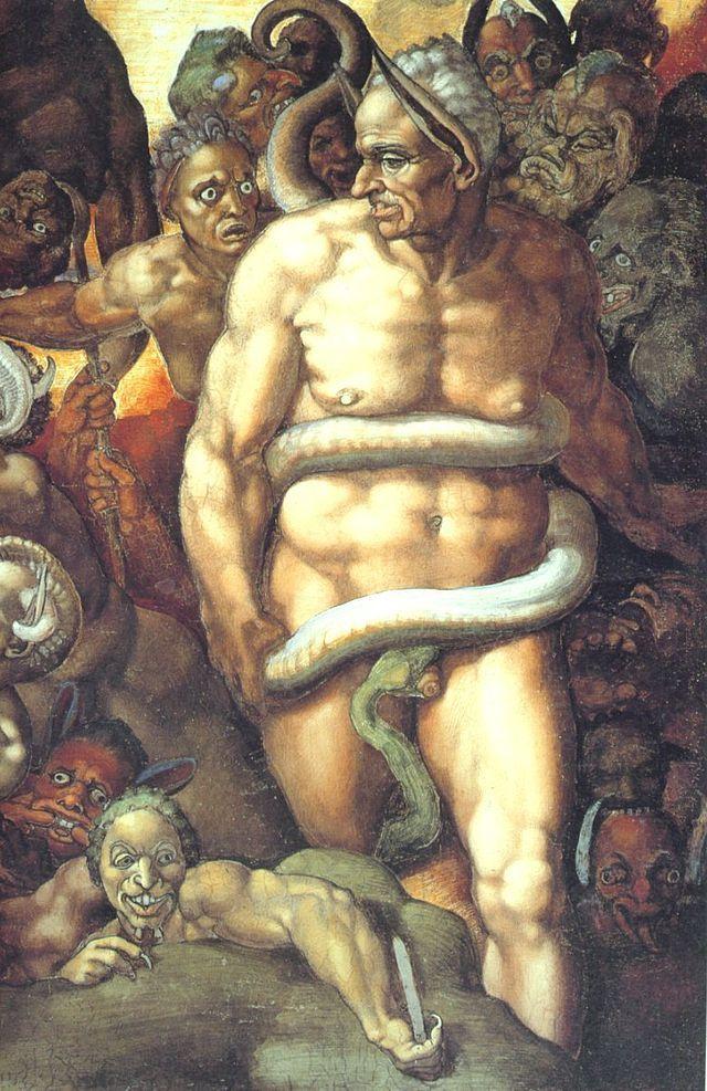 Michelangelo, detail Het laatste oordeel, sixtijnse kapel. In de Griekse mythologie was Minos de koning van Kreta. Na zijn dood werd Minos benoemd als rechter in de Hades, die de binnenkomende zielen beoordeelde en ze hun juiste plek in de onderwereld wees. In deze rol treedt hij ook op in Dante's Goddelijke komedie.