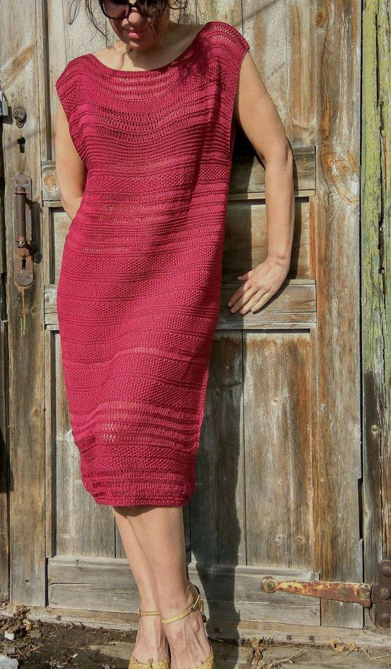 READY Marsala dress Handknitt dress Burgundy от JuliasFineKnits