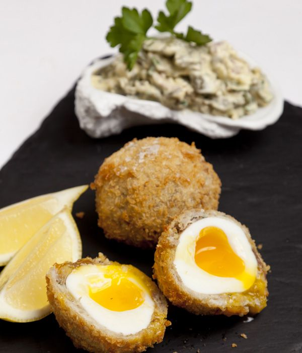 This sublime mackerel Scotch egg recipe makes a great pescatarian alternative to the classic pork snack. The coarsely chopped, piquant tartare sauce makes the perfect accompaniment to the smoky and sweet mackerel - James Mackenzie